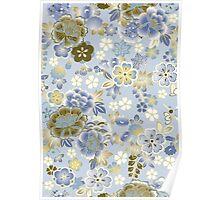 Blue Brown Vintage Floral Japanese Kimono Poster