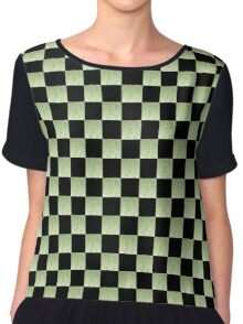 MODERN SILVER AND GOLD CHECKED DESIGN Chiffon Top