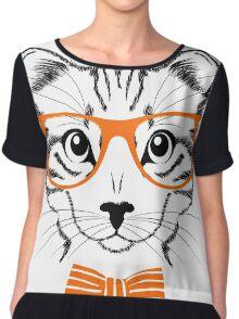 Hipster Cat  Chiffon Top