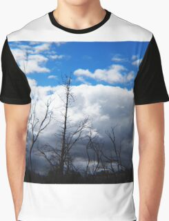 Blue Sky, Fluffy Clouds, Burnt Trees - View from South Mountain Road, Wallan, Vic, Australia Graphic T-Shirt