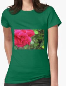 Macro on pink rose. Womens Fitted T-Shirt