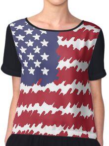 Abstract Scribble USA Flag Pattern  Chiffon Top