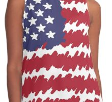 Abstract Scribble USA Flag Pattern  Contrast Tank