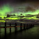 Awarua Bay and Aurora Australis by Kimball Chen