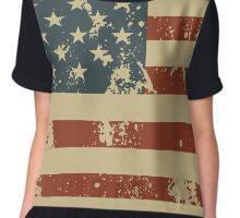 America Patriotic Grunge Flag  Chiffon Top