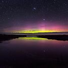 Waituna Lagoon & Aurora Australis by Kimball Chen