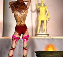 Worshiping at the Roman god gold statue by beachartist