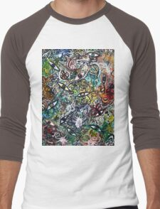 Abstract Psychedelic Geometric Eyes Men's Baseball ¾ T-Shirt