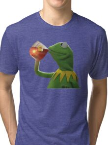 KERMIT THE FROG SIPPING TEA JAMES LEBORN CLEVELAND CAVALIERS Tri-blend T-Shirt