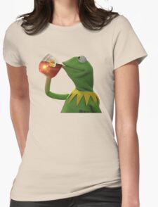 KERMIT THE FROG SIPPING TEA JAMES LEBORN CLEVELAND CAVALIERS Womens Fitted T-Shirt