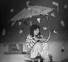 Tea Party with girl and French Bulldog on the Moon by tomuato