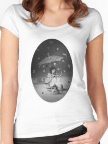 Tea Party with girl and French Bulldog on the Moon Women's Fitted Scoop T-Shirt