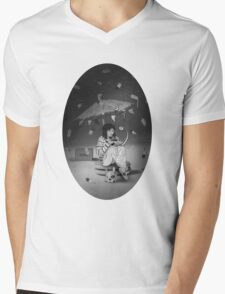 Tea Party with girl and French Bulldog on the Moon Mens V-Neck T-Shirt