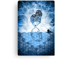 Mermaid with duck in sea Canvas Print