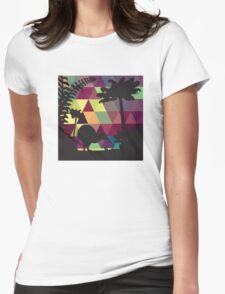 Geometric Silhouette No. 3 Womens Fitted T-Shirt