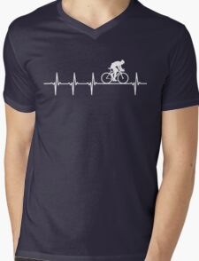 Mountain Biking Heartbeat Love Mens V-Neck T-Shirt