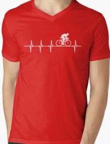 Mountain Biking Heartbeat Love Mens V-Neck T-Shirt