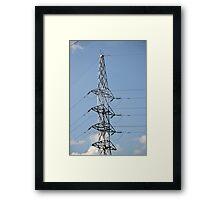 high voltage electricity line Framed Print