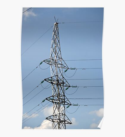 high voltage electricity line Poster