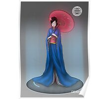 Geisha with Parasol Poster