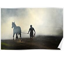 brown horse and a man Poster
