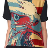 American Patriotic Eagle Bald Chiffon Top