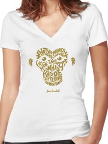 Jane Goodall monkey face Women's Fitted V-Neck T-Shirt