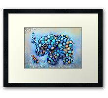 Little Blue the Patchwork Elephant Framed Print