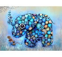 Little Blue the Patchwork Elephant Photographic Print