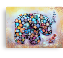 Little Sunshine the Patchwork Elephant Canvas Print