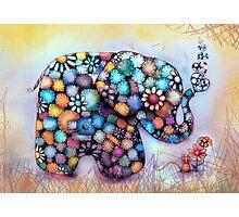 Little Sunshine the Patchwork Elephant Photographic Print