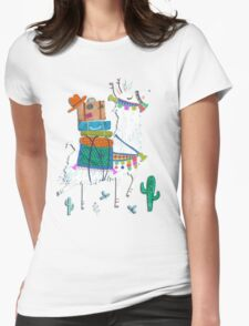Lama Camping Womens Fitted T-Shirt