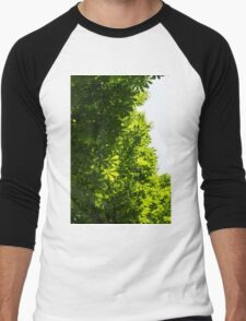 More Than Fifty Shades Of Green - Sunlit Chestnut Leaves Patterns - Vertical Left One Men's Baseball ¾ T-Shirt