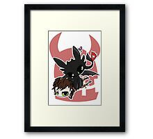 Toothless and Hiccup Framed Print