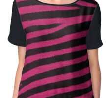 Pink Leather skin of zebra patterned background Chiffon Top