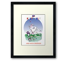 Keep Calm and have a snoooze - tony fernandes Framed Print