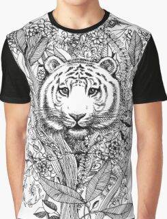 Tiger Tangle in Black and White Graphic T-Shirt