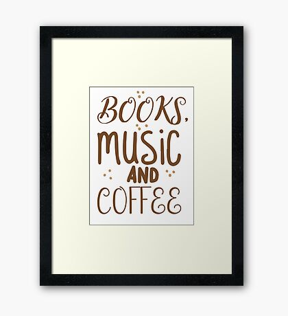 books, music and coffee Framed Print