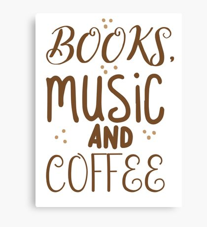 books, music and coffee Canvas Print