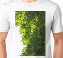 More Than Fifty Shades Of Green - Sunlit Chestnut Leaves Patterns - Vertical Right Two Unisex T-Shirt