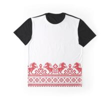 Cross-stitch red pull horses  Graphic T-Shirt