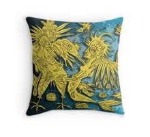 mermaid and the crow Throw Pillow