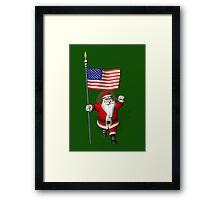 Patriotic Santa Claus With US Flag Framed Print