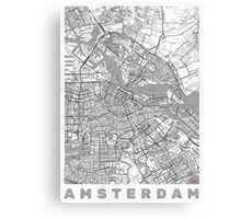 Amsterdam Map Line Canvas Print