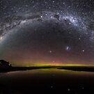 Milky Way & Aurora Australis at Waituna Lagoon by Kimball Chen