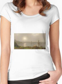 Martin Johnson Heade - York Harbor, Coast Of Maine 1877. Lake landscape: trees, river, land, forest, coast seaside, waves and beach, marine naval navy, lagoon reflection Women's Fitted Scoop T-Shirt