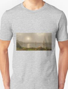 Martin Johnson Heade - York Harbor, Coast Of Maine 1877. Lake landscape: trees, river, land, forest, coast seaside, waves and beach, marine naval navy, lagoon reflection Unisex T-Shirt