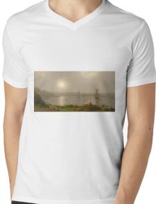 Martin Johnson Heade - York Harbor, Coast Of Maine 1877. Lake landscape: trees, river, land, forest, coast seaside, waves and beach, marine naval navy, lagoon reflection Mens V-Neck T-Shirt