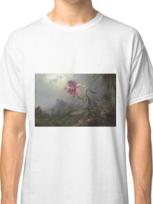 Martin Johnson Heade - Two Hummingbirds With An Orchid 1875. Garden landscape: garden view, trees and flowers, blossom,  lotus blossom, botanical park, orchid, wonderful flowers Classic T-Shirt