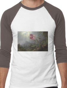 Martin Johnson Heade - Two Hummingbirds With An Orchid 1875. Garden landscape: garden view, trees and flowers, blossom,  lotus blossom, botanical park, orchid, wonderful flowers Men's Baseball ¾ T-Shirt